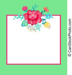 Banner with Flowers and Frame Vector Illustration