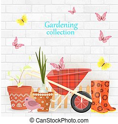 banner with gardening tools and equipments on background of whit
