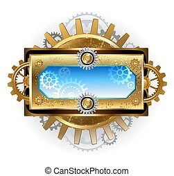 banner with gears on a white background