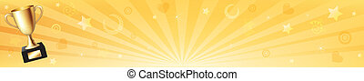 Banner With Gold Trophy Cup And Sun Rays, Vector...