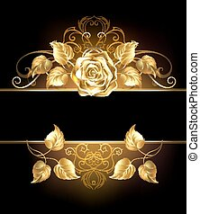 banner with golden rose