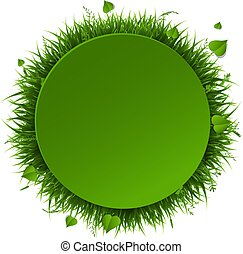 Banner With Grass Border Isolated