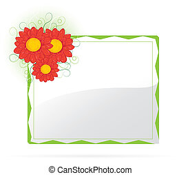 Banner with green leaf and beautifull flowers