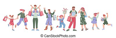 Banner with group of people shopping. Joyful buyers, vector illustration isolated.