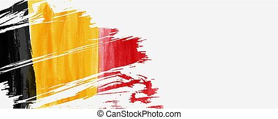 Painted grunge watercolor flag. Background concept for Belgian national holidays. Template for horizontal banner.