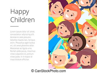 Banner with Happy Children Faces Place for Text