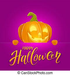 Banner with Happy Pumpkin on Halloween Background