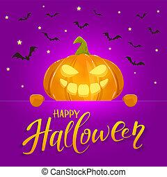 Banner with Happy Pumpkin on purple Halloween Background