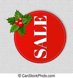 Banner With Holly Berry Transparent Background