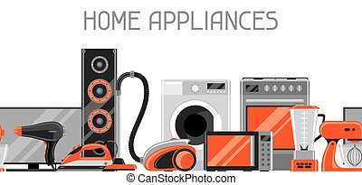 Banner with home appliances. Household items for sale and shopping advertising poster