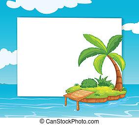 Island banner. Illustration of kids holding a banner.
