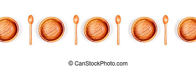 Banner with isolated wooden bowls with spoons .