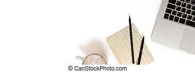Banner with laptop, mug of coffee and stationery on a white background.