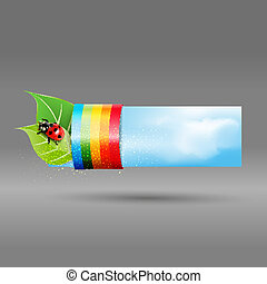 banner with leaves, ladybug