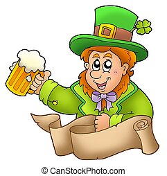 Banner with leprechaun holding beer
