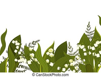 Banner with lilies of the valley and fern isolated on a white background. Vector graphics.