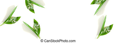 Banner with lily of the valley flowers on a white background.