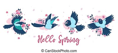 Banner with magpies and cherry flowers. Inscription Hello Spring .Vector graphics.