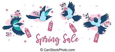 Banner with magpies and sakura. Spring sale. Vector graphics.
