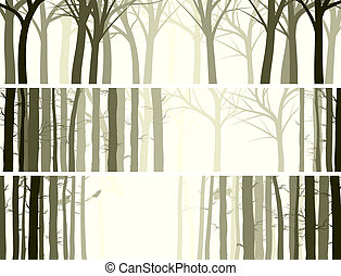 Banner with many tree trunks. - Vector abstract horizontal...
