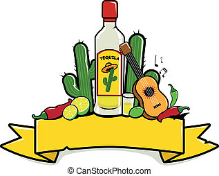 Banner with Mexican tequila, cactus and guitar. Vector Illustration