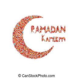 Banner with moon and arabic lantern for holy month of muslim community Ramadan Kareem. Vector illustration