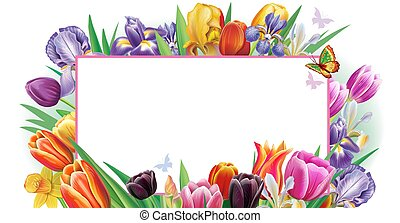 Banner with multicolor spring flowers