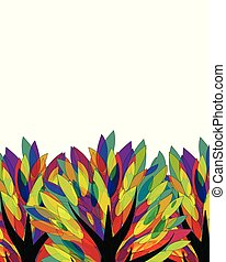 Banner with multicolored tree