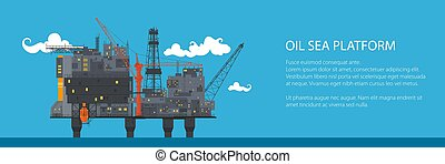 Banner with Offshore Sea Oil Platform
