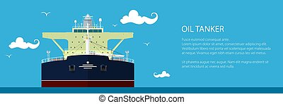 Banner with Oil Tanker - Front View of the Oil Tanker ,...