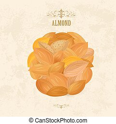 banner with pile of tasty almonds on grange background for your