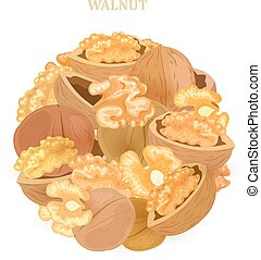 banner with pile of walnuts for your design