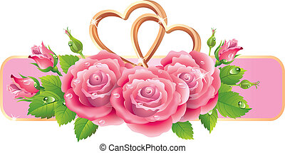 Banner with roses and hearts