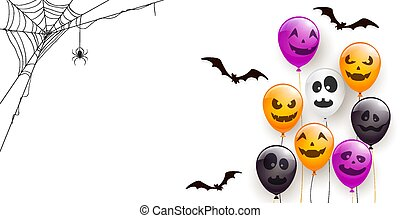 Banner with Scary Balloons and Spider