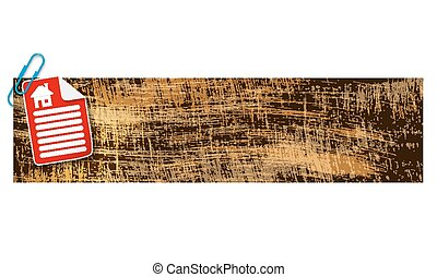 banner with scratches background and document and home icon