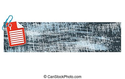 banner with scratches background and document and magnifier