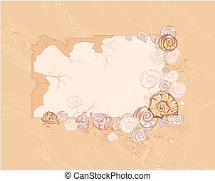 banner with sea seashell