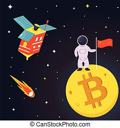Banner with spaceman on the bitcoin moon.