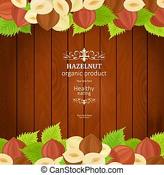 banner with tasty hazelnuts on wooden background for your design