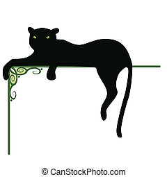 panther - banner with the black panther and pattern for...
