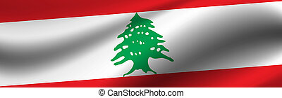 Banner with the flag of Lebanon. Fabric texture of the flag of Lebanon