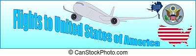 Banner with the inscription Flights to United States of America