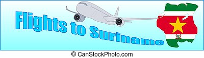 Banner with the inscription Flights to Suriname on a blue...