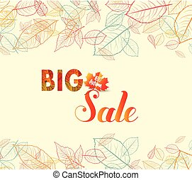 Banner with the words big sale. Autumn leaves background