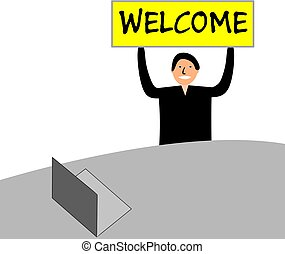 """Banner with the words """"welcome"""". The man sits at a desk with a laptop."""