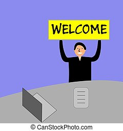 """Banner with the words """"welcome"""". The man sits at a desk with a laptop on blue background."""