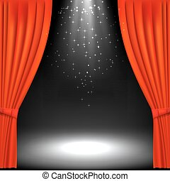 Banner with theater stage and red theater curtain. Banner ...