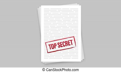 Banner with top secret for paper design. Document icon. stock illustration
