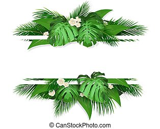 banner with tropical leaves and flowers