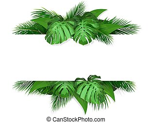 banner with tropical leaves  on background